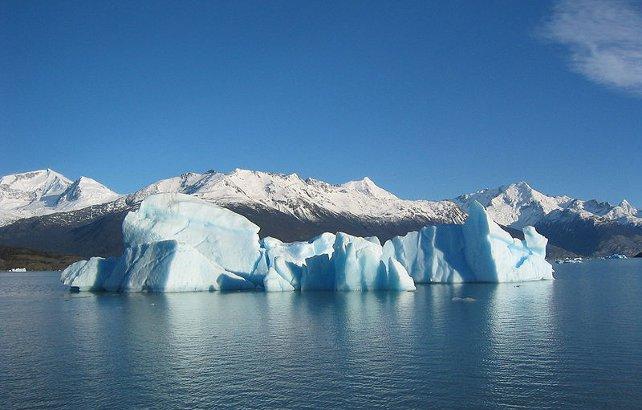 A massive blue glacier off the coast